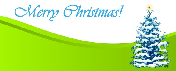 Green Merry Christmas  banner for web site design