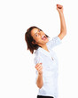 Success woman screaming of joy isolated on white
