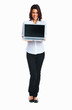 Happy woman holding laptop with blank screen to add your text