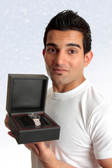 Man holding box product