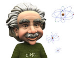 Smiling cartoon Einstein with atoms. poster