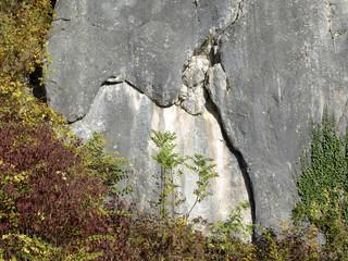Felswand mit Riss - Spalt