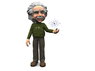 Smiling cartoon Einstein with atom.