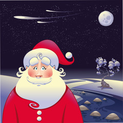 Santa Claus with landscape. Vector illustration.
