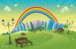 Park with rainbow. Funny cartoon and vector scene.