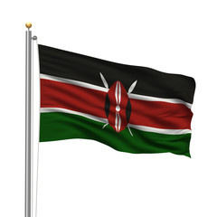 Flag of Kenya waving in the wind in front of white background