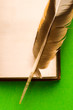 Opened book with feather isolated on green