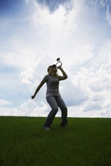 Woman Playing Horn
