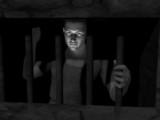 Prisoner gazing through bars poster