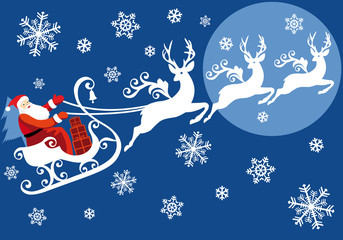 Santa riding on sleigh with reindeer, vector background