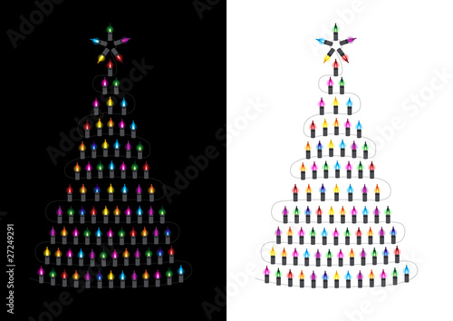 Christmas Tree made from glowing lights - Vector illustration