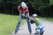 Preschooler falls over while rollerblading