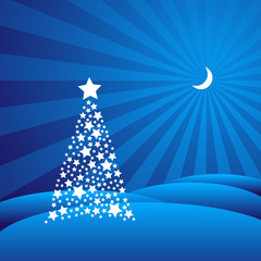 Starry Christmas Tree in a Blue Winter Landscape (EPS8 Vector)