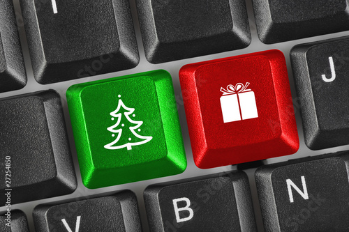 Computer keyboard with Christmas keys