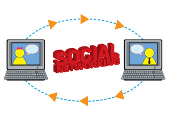 Social Networking Human Chatting Illustration in Vector
