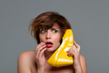 Woman gossiping on the phone