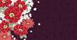 椿・菊・桜の花の和柄模様 紫