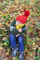 Junge sitzt im Herbstlaub