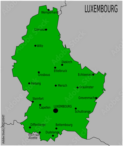 Carte des Villes Principales du Luxembourg from Floki Fotos, Royalty-free vector #27261847 on ...