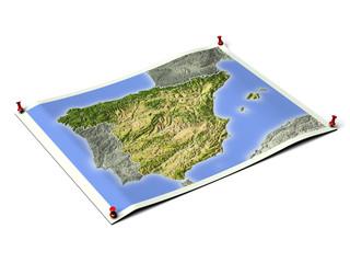 Spain on unfolded map sheet.