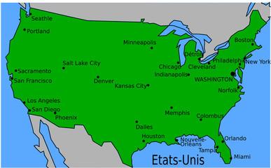 Carte des Villes Principales des Etats-Unis