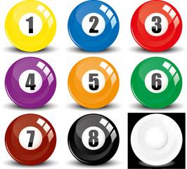 Billiard snookers - pool balls- colored balls, vector