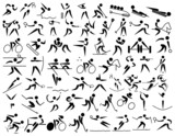 Sports pictogram sign simple action representation poster