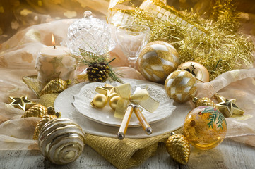 gold xmas table-tavola natalizia dorata
