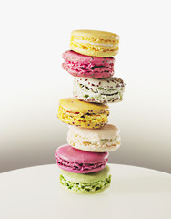 stack of vibrant macaroons