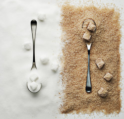 contrasting sugar, turbinado sugar and sugar cubes with spoons