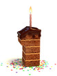 number one shaped birthday cake with lit candle and confetti