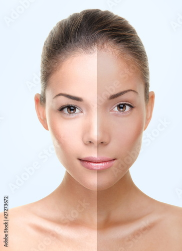 Tan skin care woman face