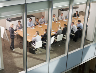 view of business people in conference room
