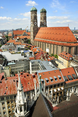 Panoramic view on city and Cathedral of Our Lady Munich Germany
