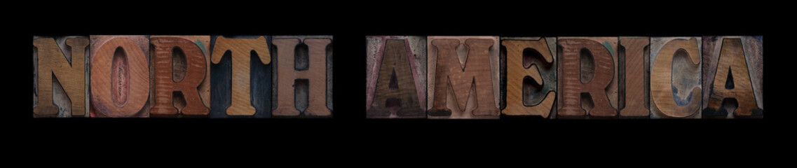 the words North America in old letterpress wood type