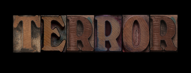 the word terror in old letterpress wood type
