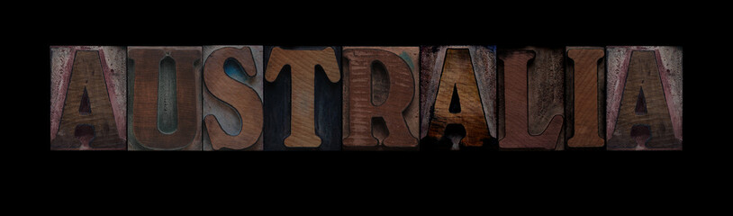 the word Australia in old letterpress wood type