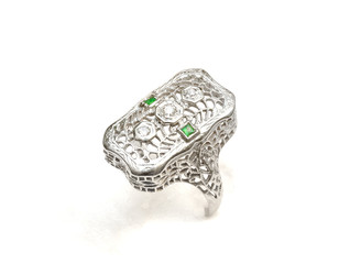 White Gold Ring with Emerald Stones