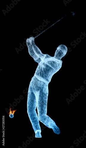 golf 3d frappe puissance déterminatino golfeur trophée compét
