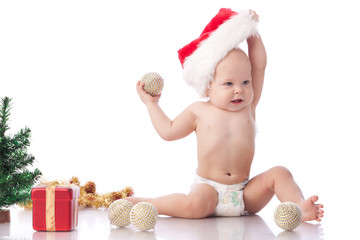 Small baby with christmas decoration