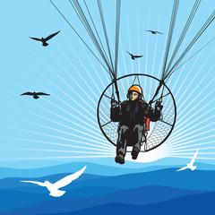 Parachutist flight with birds