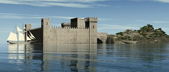Vor Anker im Schutz der Burg