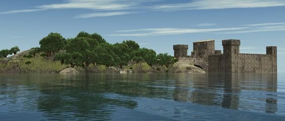Die Weg zur Burg über die Brücke