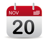 november red calendar stand up poster