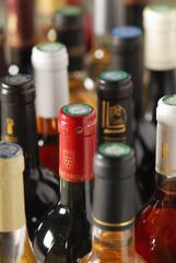 Goulots de bouteilles de vin