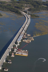aerial view of bridge construction
