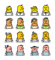 cartoon emoticons - angry people