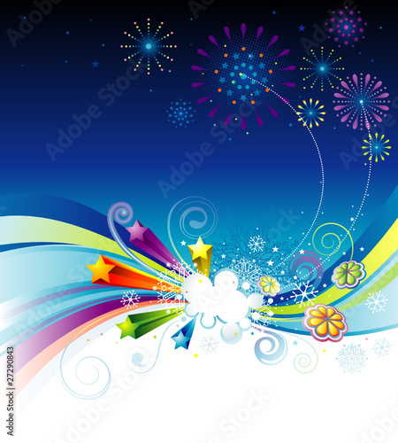 Vector illustration of holiday eve celebration background.