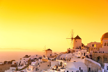 Sunset in Oia village Santorini, Greece