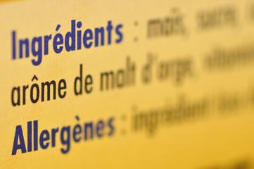 Étiquette d'ingrédients